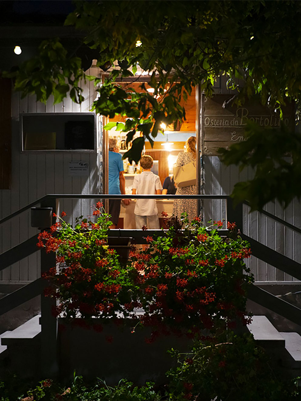 Night view entrance Locanda Bortolino Restaurant as seen from the outside