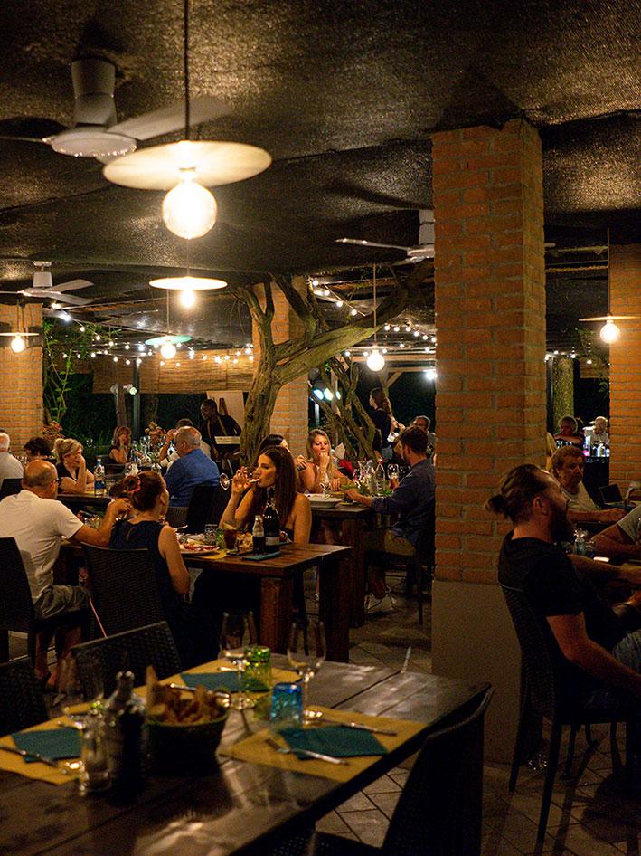 Night view portico outside Locanda Bortolino Restaurant